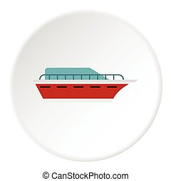 Powerboat icon, flat style