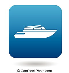 Powerboat icon in flat style on a white background