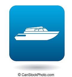 Powerboat icon in flat style