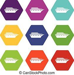 Powerboat icon set color hexahedron
