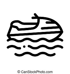 Powerboat Icon Vector Outline Illustration - Powerboat Icon ...