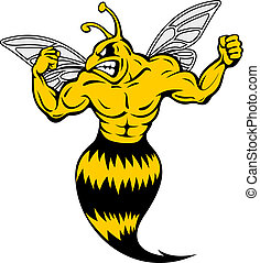 Powerful and danger yellow jacket in mascot style
