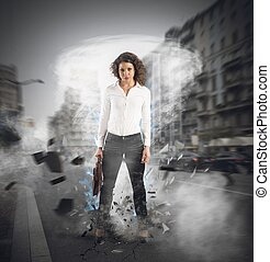 Powerful and determined businesswoman - Businesswoman at the...