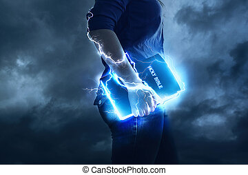 A woman holds her Bible with glowing lights and lightning strikes.