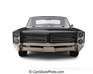 Powerful black vintage car - front view