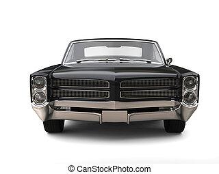 Powerful black vintage car - front view