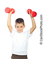 Powerful boy lifting dumbbel - Powerful boy lifting two red...