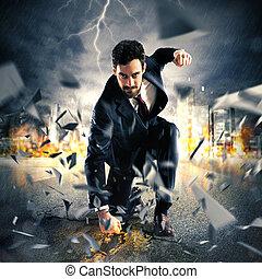 Powerful businessman - Businessman breaking the asphalt with...