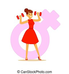 Powerful confident woman in a red dress lifting dumbbells, feminism colorful character vector Illustration