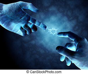 Two hands connecting with a jolt of electricity joining the two fingers.