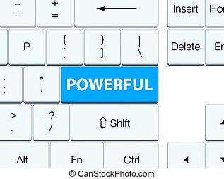 Powerful cyan blue keyboard button