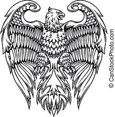 Powerful eagle or griffin in heraldic style