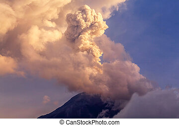 Powerful Explosion Of Tungurahua At Sunset, Ecuador, South...