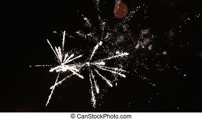 powerful fireworks in the night sky