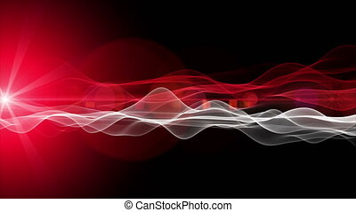 Powerful futuristic animation with wave object and light in...