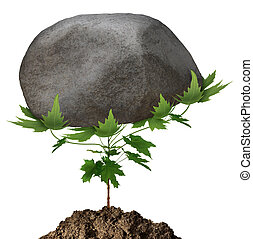 Powerful growth and unstoppable success as a small green tree sapling conquering adversity by emerging from the earth and lifting a huge rock obstacle that is in its path on a white background.