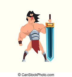 Powerful hero with luminous sword, fantasy character vector...