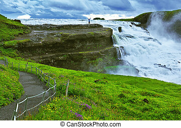 Powerful high-water waterfall