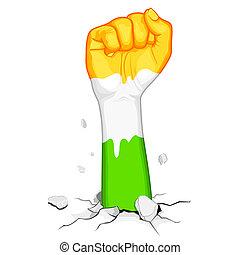 Powerful India - illustration of indian flag colorfist ...