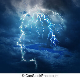 Powerful intelligence with an electric lightning bolt strike in the shape of a human head illuminated on a storm cloud night sky as a brain function neurology health care symbol.