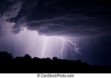 lightning storm in the sky