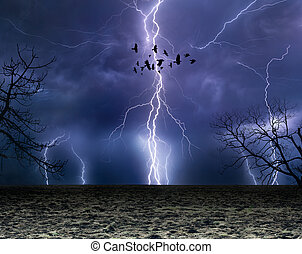 Powerful lightnings in dark stormy sky, flock of flying ravens, weather forecast concept