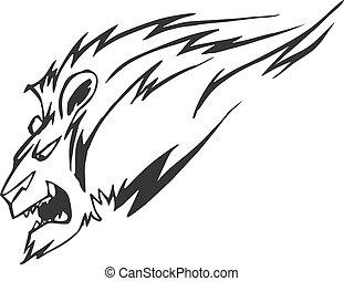 Powerful lion head