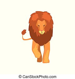 Powerful lion, wild predatory animal front, view vector Illustration isolated on a white background.