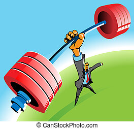 Powerful man - Powerful businessman lifting barbell by one...