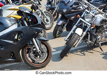 motorcycles on parking