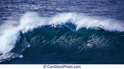 powerful ocean wave breaking, clean renewable energy...