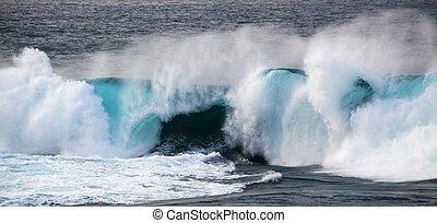powerful ocean wave breaking, clean renewable energy...
