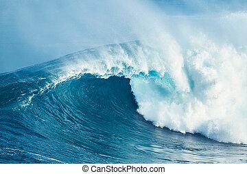 Powerful Ocean Wave - Giant Powerful Blue Ocean Wave