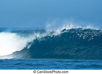 powerful ocean waves breaking natural water background