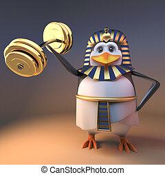 Powerful pharaoh penguin Tutankhamun lifts weights effortlessly, 3d illustration