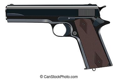 Powerful pistol, gun, handgun, vector illustration. -...