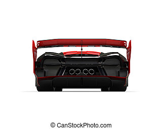 Powerful red super race car - back view