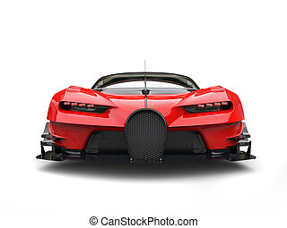 Powerful red super race car - front view closeup