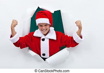 Powerful santa flexing his muscles