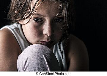 Sad Child - Powerful Shot of Sad Child