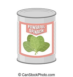Powerful spinach. Canned spinach. Canning pot with lettuce...
