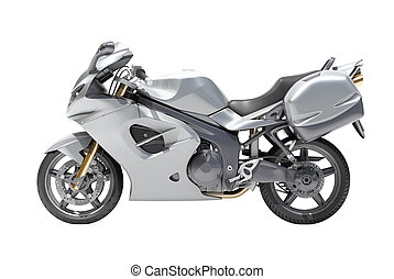 Powerful sports motorcycle isolated on a white studio background
