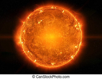 Powerful Sun in space - Close up view of a burning sun in...