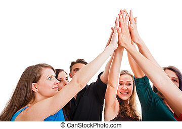 Powerful Team - Team members holding hands as symbol of...
