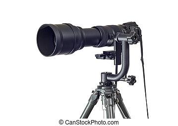 Powerful Telephoto Lens On digital Camera and Gimbal Head