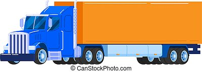 Powerful truck, trailer with carcase, special equipment for road construction, cartoon vector illustration, isolated on white.