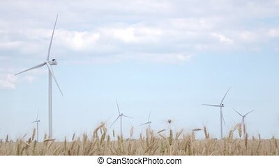 Powerful turbines generate electricity on the sky background surrounded by yellow wheat ears