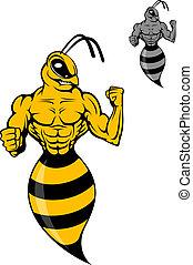 Powerful wasp or yellow hornet in cartoon style for mascot