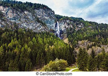 Powerful waterfall in the Austrian Alps