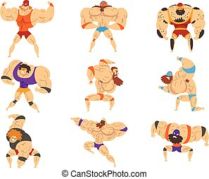 Powerful wrestling fighter characters set, professional ...